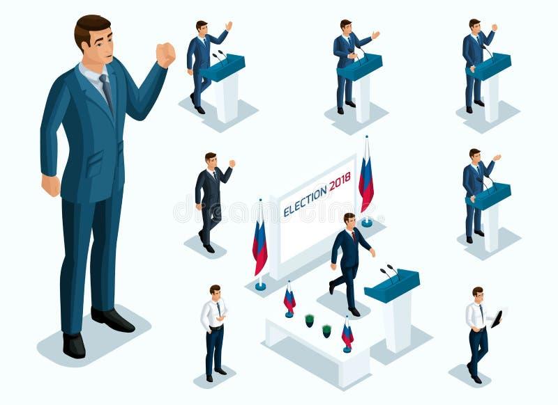 Sr. de Isometrics Presidente, votando, eleições, debate Gestos do candidato, slogan dos homens dos homens de negócios, poder ilustração stock