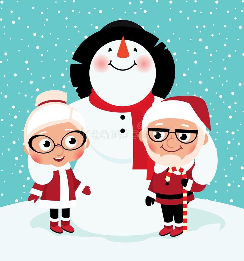 Sr. e Sra. idosos Santa Claus ilustração royalty free