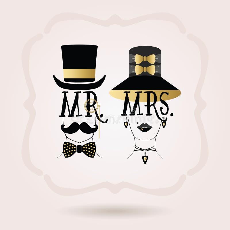 Sr. elegante abstracto negro y de oro Varón y señora Iconos femeninos stock de ilustración