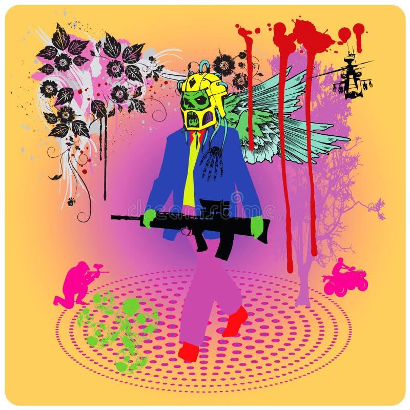 Sr. guerra psicodélica ilustración del vector