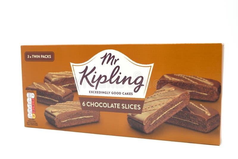 Sr. Kipling Cake Slices en una caja de cartón reciclable imagen de archivo libre de regalías
