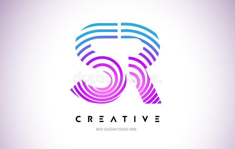 SR Lines Warp Logo Design. Letter Icon Made with Purple Circular stock illustration