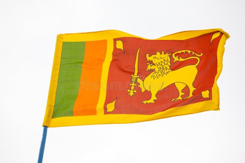 Sr Llankan flag waving on sky. Sr Llankan flag waving high on the sky royalty free stock image