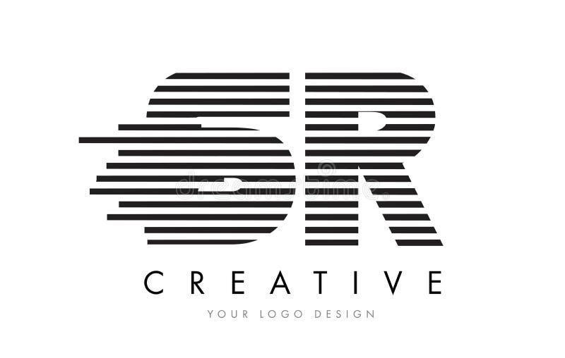 SR S R Zebra Letter Logo Design with Black and White Stripes royalty free illustration