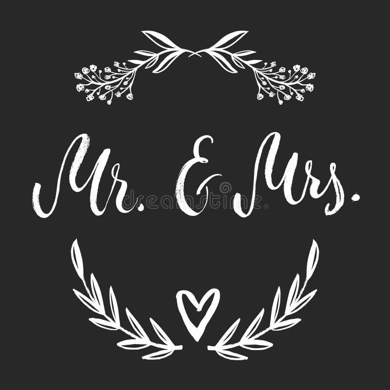 Sr. y señora Y, símbolo del signo '&' Novia y novio palabras de la boda foto de archivo libre de regalías