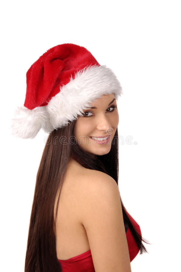Sra. bonita e 'sexy' Santa isolada no branco imagens de stock royalty free