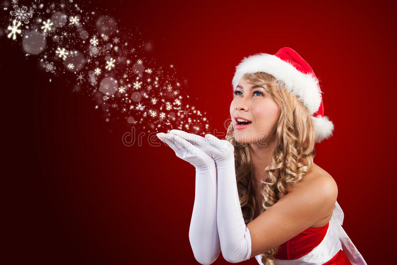 Sra. bonita Papai Noel que deseja o Feliz Natal imagens de stock