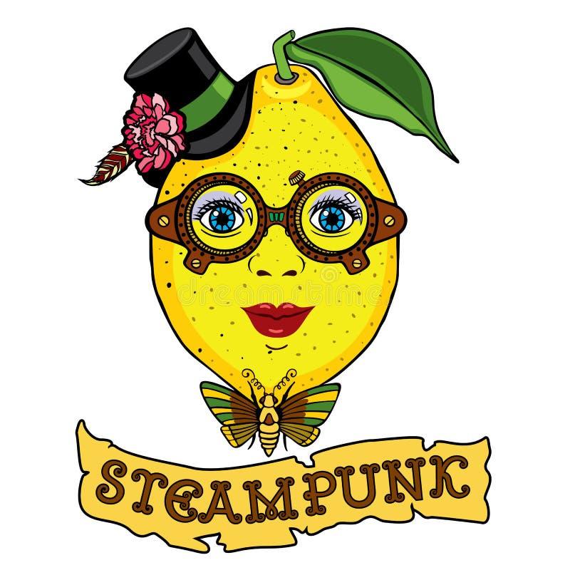 sra. Desenho do limão ao estilo do steampunk ilustração royalty free