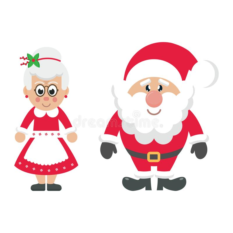 Sra. Santa e Papai Noel dos desenhos animados ilustração royalty free