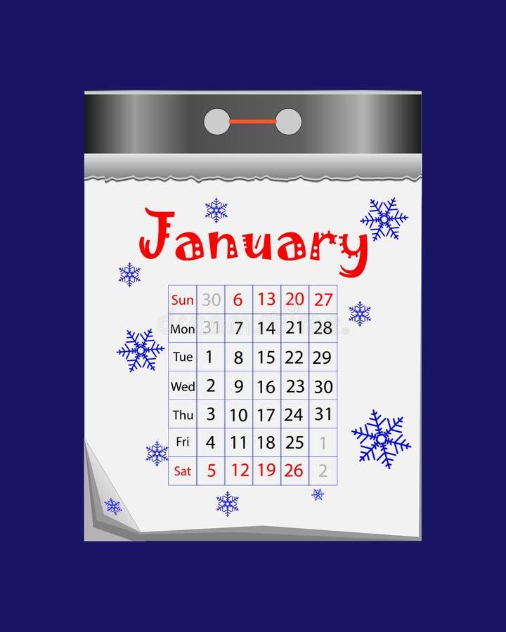 Sradichi l'icona del calendario nello stile piano su fondo blu illustrazione vettoriale