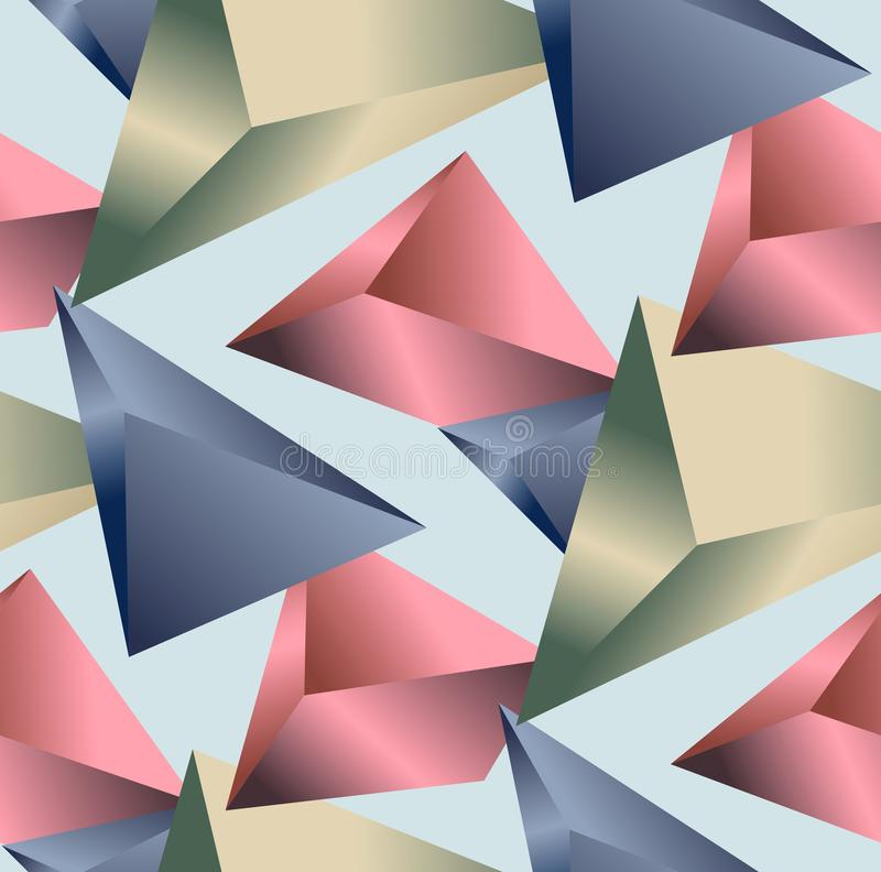 Sramless Geometric Pattern. Abstract triangle background. Colored 3D Triangles. Modern Wallpaper with light blue background. royalty free illustration