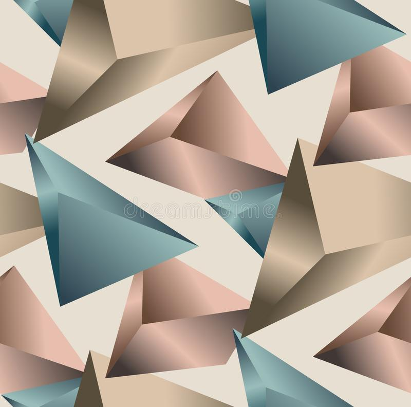 Sramless Geometric Pattern. Abstract triangle background. Colored 3D Triangles. Modern Wallpaper with light brown background. vector illustration