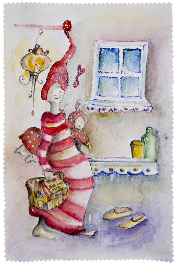 Srebna Śnieżna mama ilustracja wektor