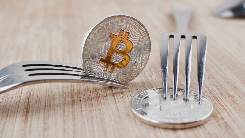 Srebna Bitcoin moneta obrazy royalty free