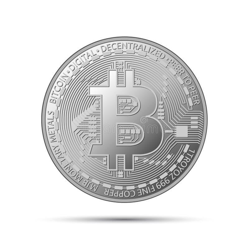 Srebna bitcoin moneta, crypto waluty srebra symbol ilustracja wektor