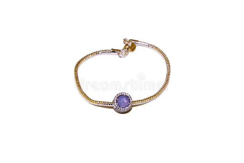 Srebna bransoletka z purpura kamienia urokiem obraz stock