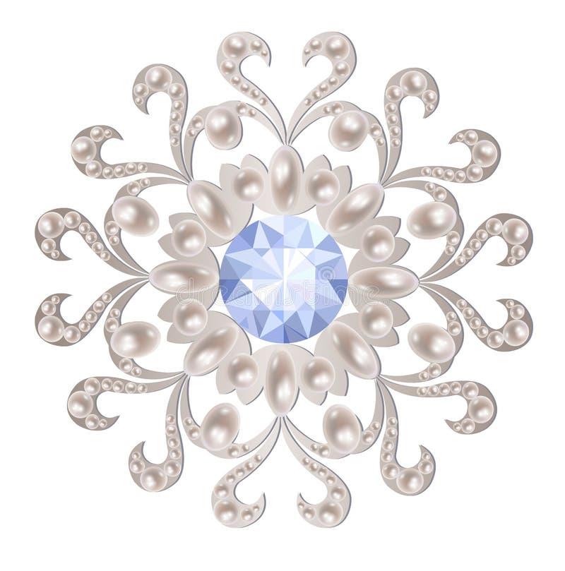 Srebna broszka royalty ilustracja