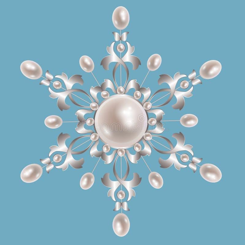 Srebna broszka z perłami ilustracji