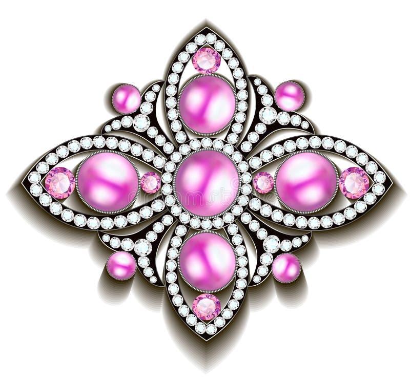 srebna broszka z różowymi perłami ilustracja wektor