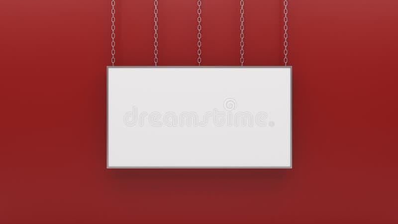 Srebna fotografii rama na czerwieni ściany 3d renderingu royalty ilustracja