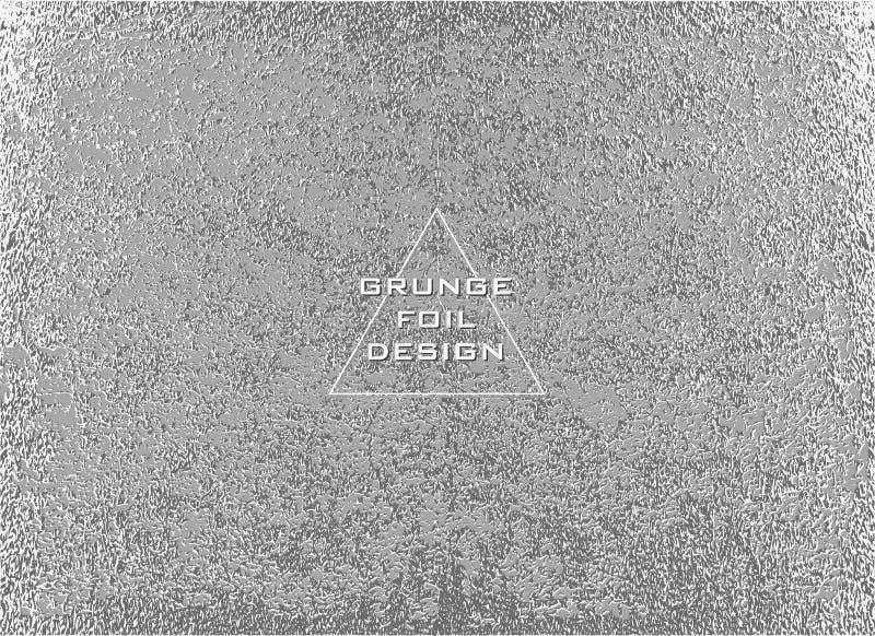 Srebna glansowana tekstura wzór metaliczny Argent Grunge tło ilustracja wektor