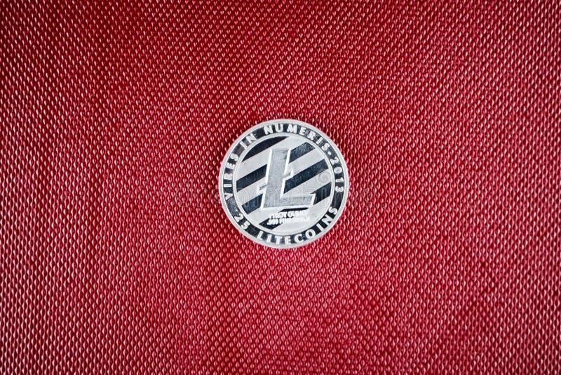 Srebna Litecoin moneta zdjęcie royalty free