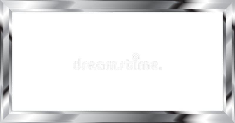 Srebna metalu obrazka rama Na bielu ilustracji