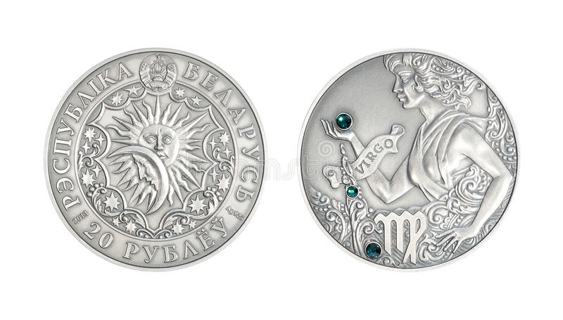 Srebna moneta Astrologiczny szyldowy Vigro fotografia royalty free