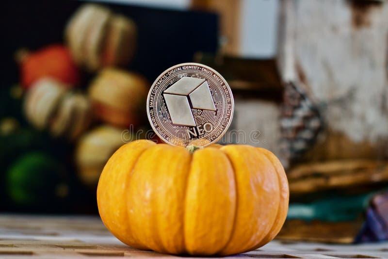 Srebna Neo moneta obraz stock