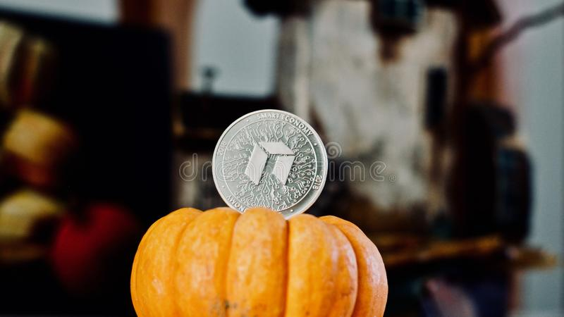 Srebna Neo moneta zdjęcia royalty free