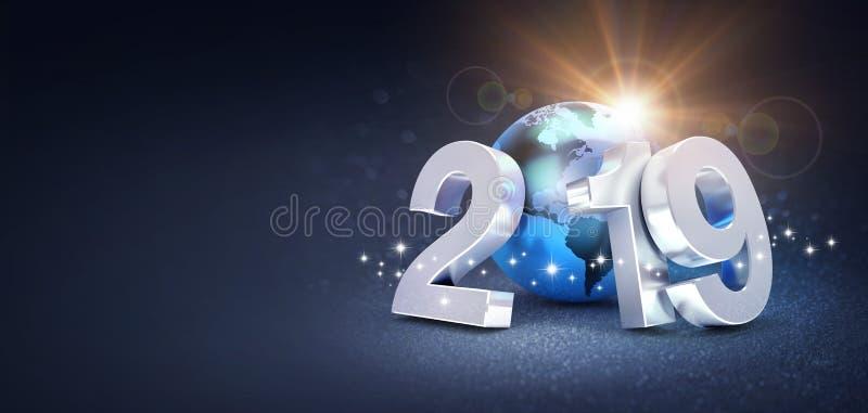 Srebna nowy rok data 2019 komponująca z błękitną planety ziemią, słońca jaśnienie za na błyskotliwym czarnym tle, - 3D ilustracji