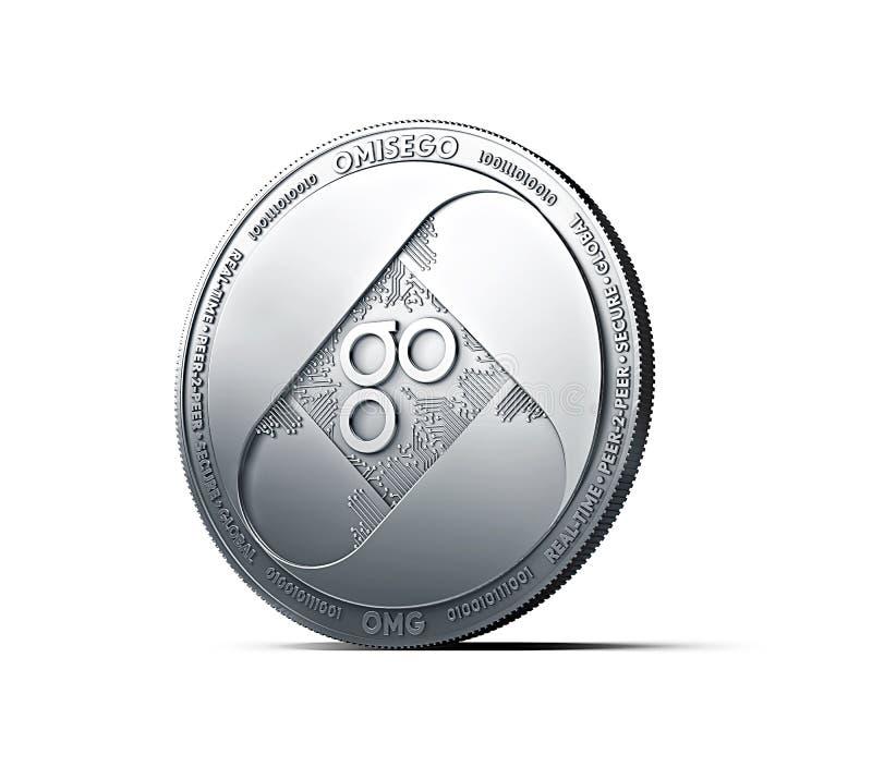 Srebna OMISEGO OMG moneta odizolowywająca na białym tle ilustracja wektor