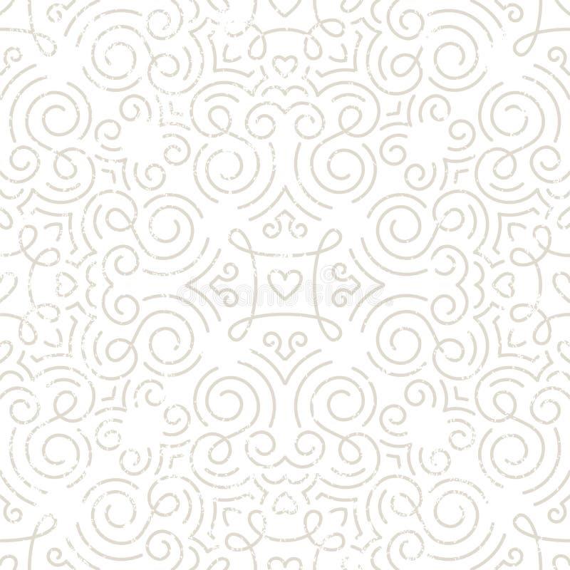 Srebna rocznik tapeta z zawijasami i sercami ilustracja wektor