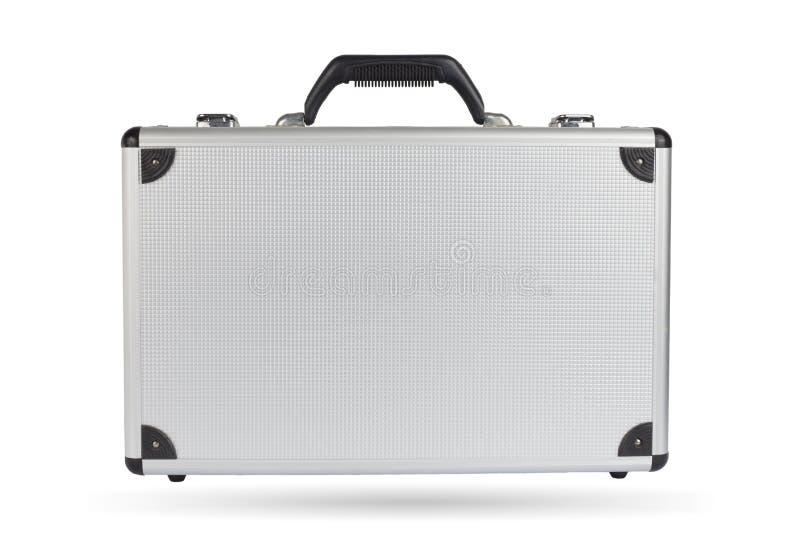 Srebna stalowa walizka odizolowywająca na białym tle fotografia royalty free