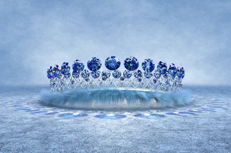 Srebna Szafirowa korona obrazy royalty free