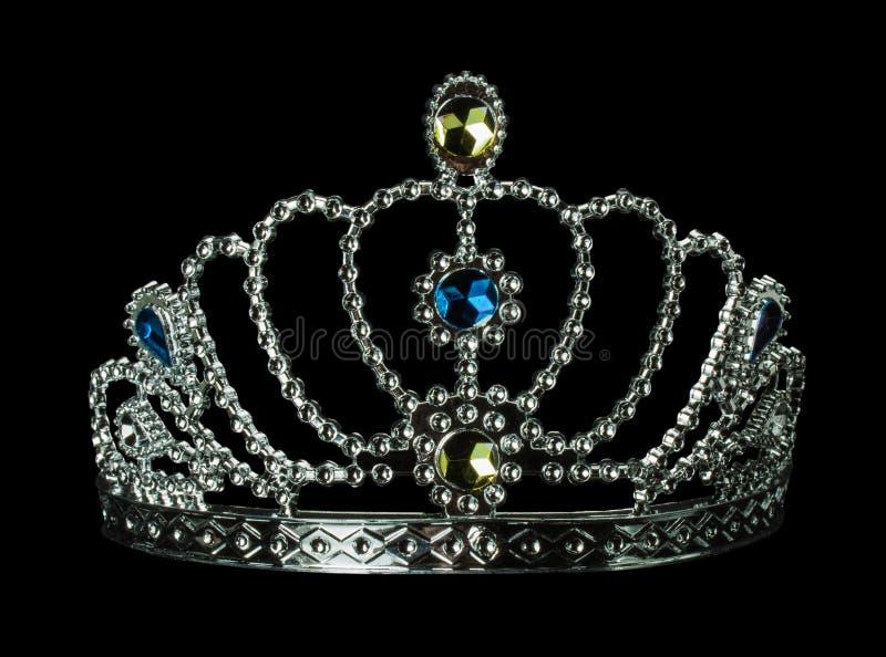 Srebna tiara na czarnym tle zdjęcie royalty free