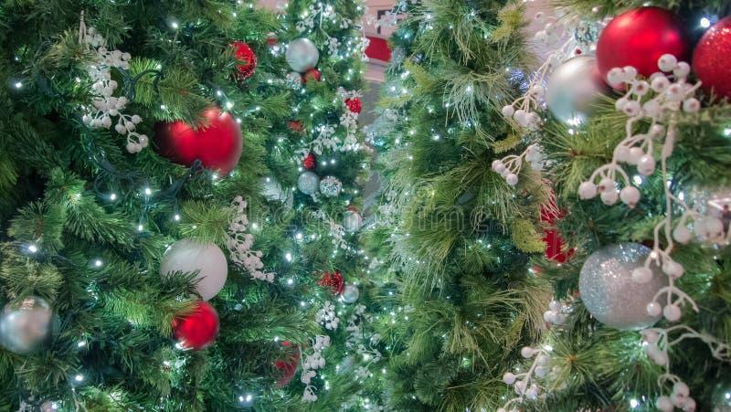 Srebne Bożenarodzeniowe dekoracje z czerwonymi ornamentami i białymi jagodami obrazy stock