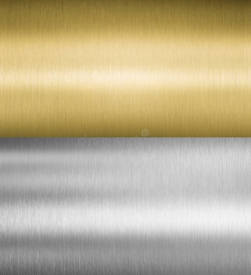 Srebne i złociste metal tekstury fotografia royalty free