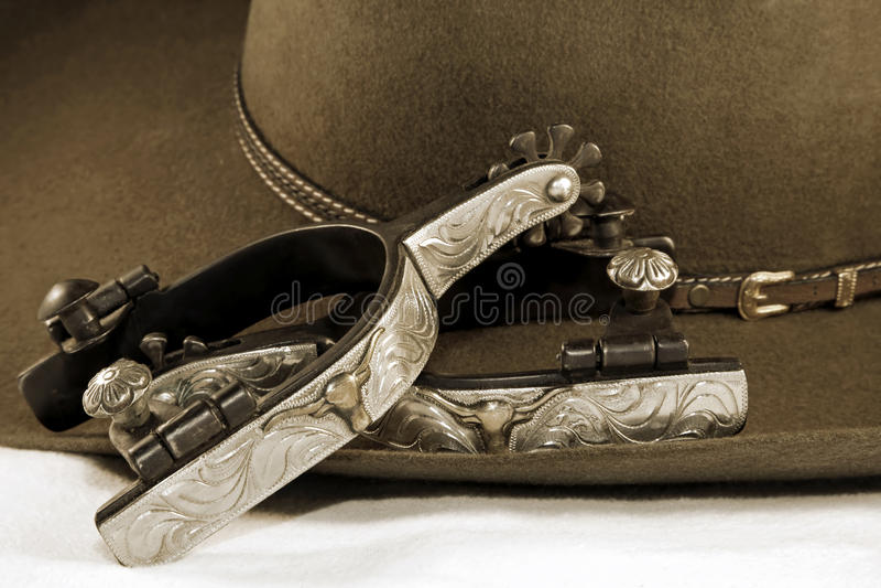 srebne kowbojski kapelusz ostroga fotografia royalty free