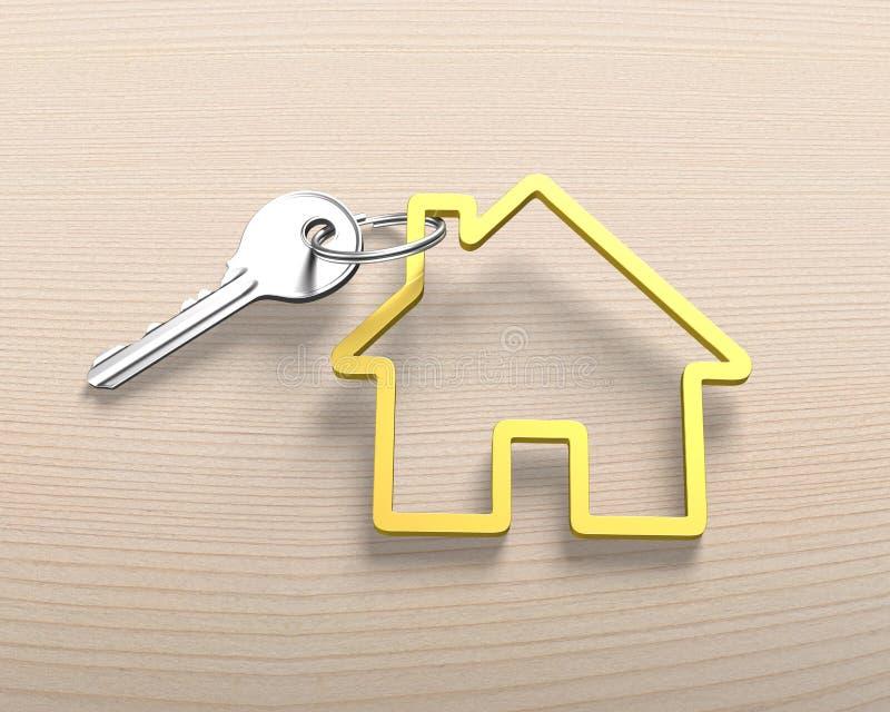 Srebnego klucza i domowego kształta kluczowy pierścionek zdjęcia royalty free