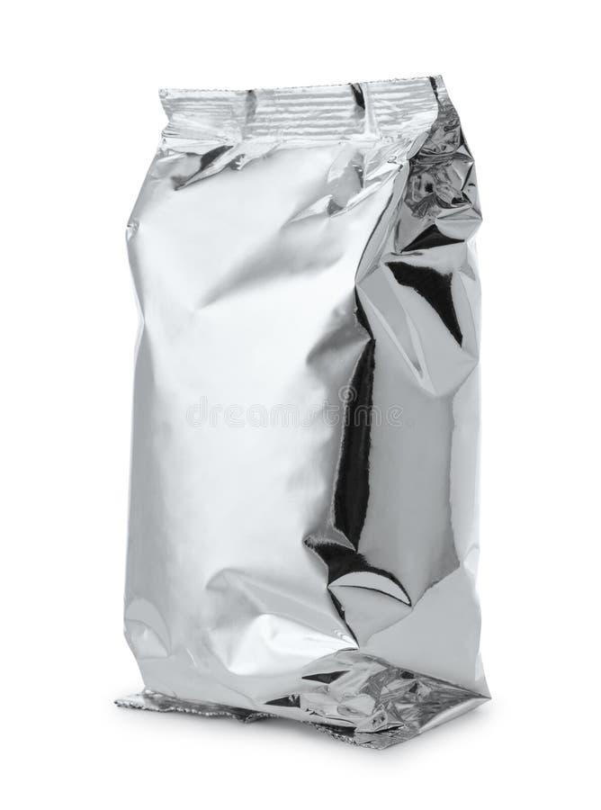Srebnej folii karmowa torba zdjęcie royalty free