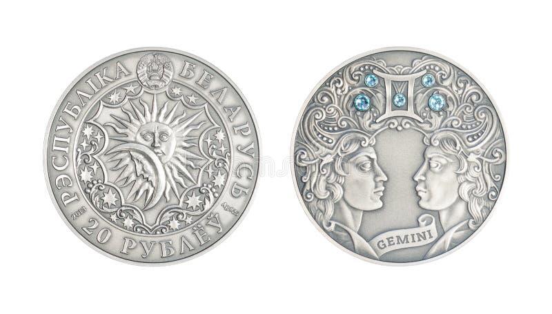 Srebnej monety Astrologiczny szyldowy gemini obraz stock