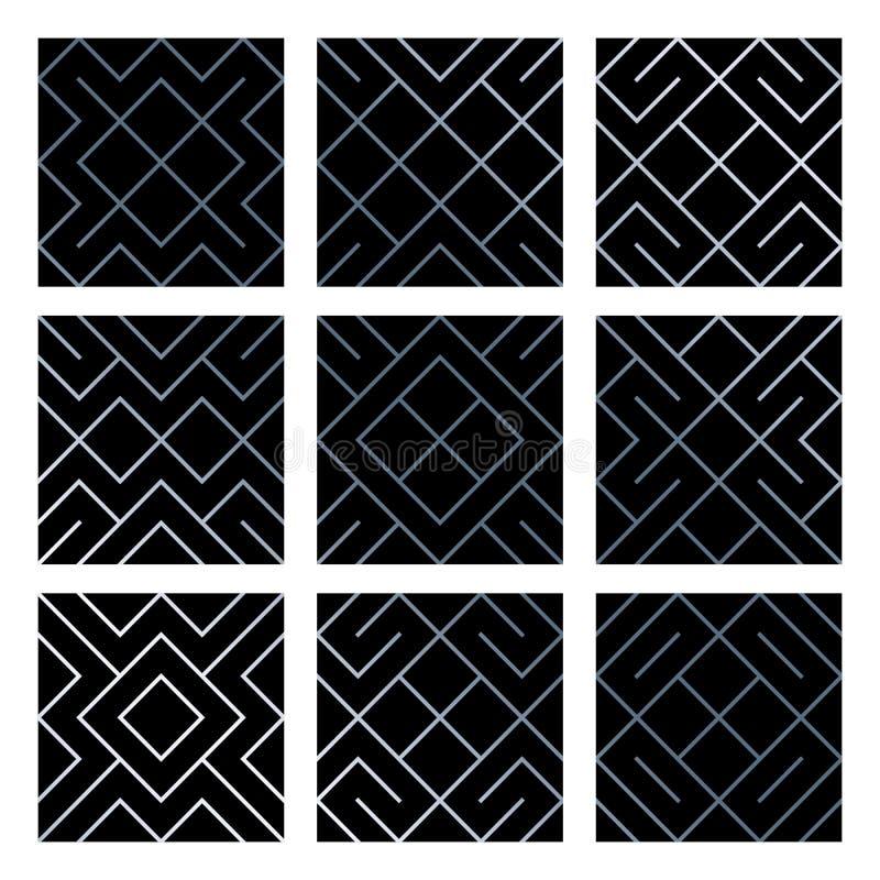 Srebni abstrakcjonistyczni geometryczni bezszwowi wzór płytki tła ustawiający z błyskotliwą siatki teksturą Wektoru wzór rhombus  ilustracji