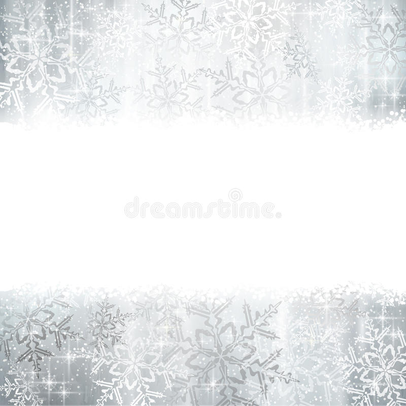 Srebni boże narodzenia, zimy tło z płatkami śniegu ilustracji