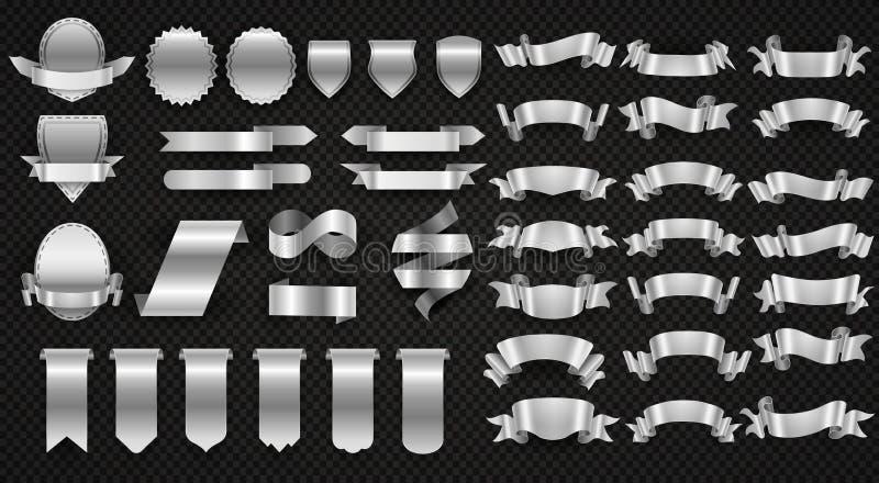 Srebni i stalowi faborki, metali sztandarów wektoru opakunkowy set ilustracji