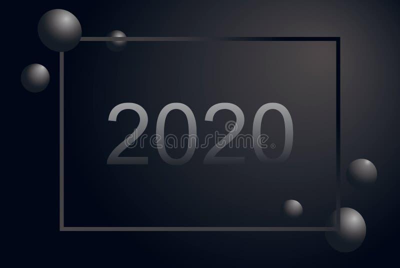 Srebni liczby dwa tysiące i dwanaście 2020 fasonują kartkę z pozdrowieniami i szarości piłkę w gradient ramie na matte czerni pio ilustracja wektor