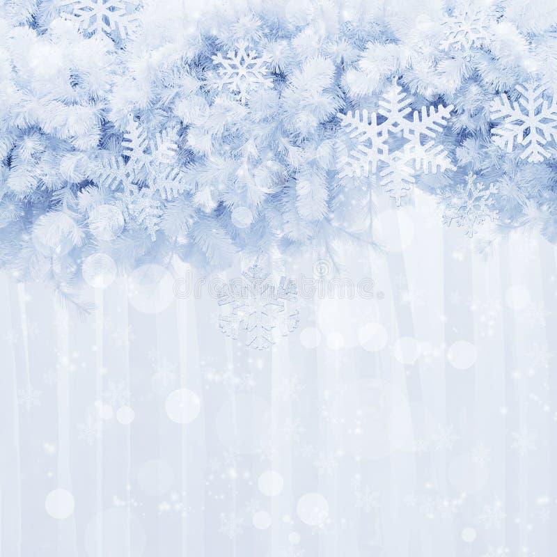 Srebni płatek śniegu kształtują i połyskują na sosnowym liścia tle royalty ilustracja