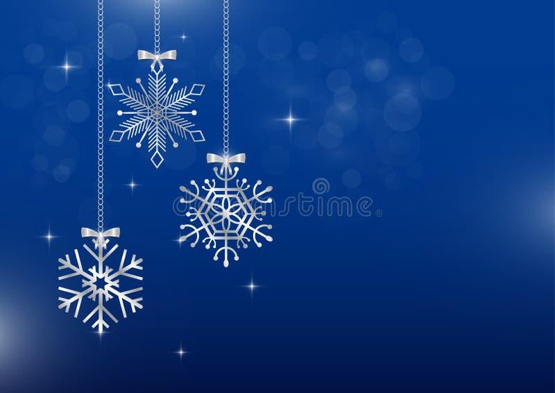 Srebni płatki śniegu wiesza z gwiazdami i zamazanym bokeh na błękitnym tle ilustracji