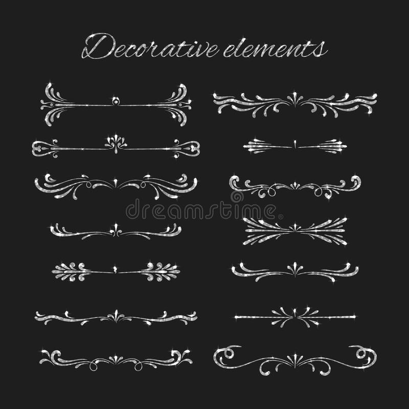 Srebni tekstów dividers ustawiający Ornamentacyjni Dekoracyjni elementy ilustracji