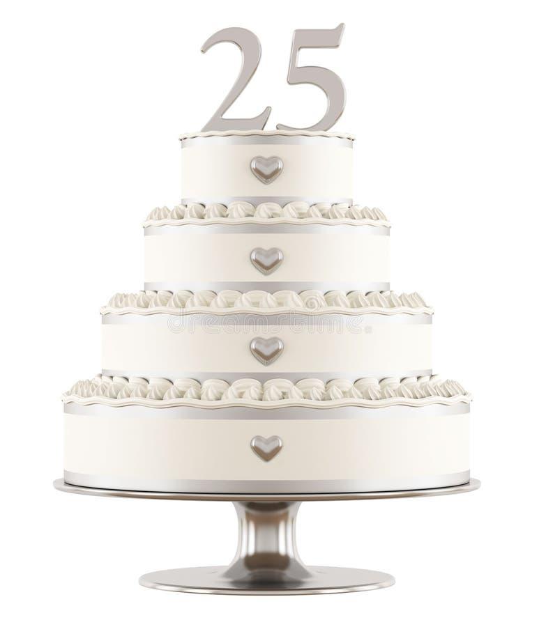 Srebny ślubny tort ilustracji